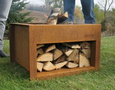 You can stow your wood pile under this fire pit.