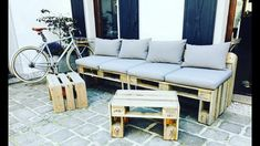 Outdoor Sofa, Outdoor Furniture, Outdoor Decor, Home Decor, Diy Pallet Furniture, Furniture From Pallets, Homemade Home Decor, Decoration Home, Yard Furniture