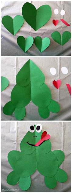 Cute Paper Heart Frog Craft For Kids! #Valentines day art project #Froggy #DIY #Hearts Más