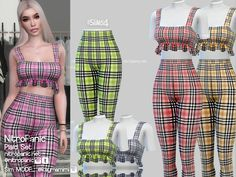 Plaid Set for The Sims 4 Sims 4 Toddler Clothes, Sims 4 Mods Clothes, Sims 4 Clothing, Sims 4 Tsr, Sims Cc, Sims 4 Dresses, Sims 4 Outfits, Formal Outfits, Rock Outfits