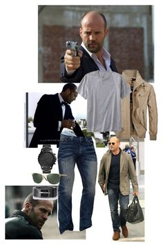 """""""Stylin'Statham"""" by shanry ❤ liked on Polyvore featuring Jeep Rich, TravelSmith, Affliction, FOSSIL, Ray-Ban, Diesel, men's fashion, menswear and JasonStatham"""