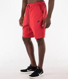 NWT Nike Men's Nike Tech Fleece Shorts RED/BLK Zipper 805160-654 SZ L