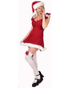 Sexy Adult Womens Christmas XMAS Costumes Mrs Claus Santas Helper Red Dress Costume Theme Party Outfit