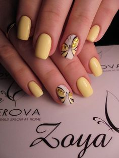 Pin by Alexia Chénier on manucure in 2019 23 Great Yellow Nail Art Designs 2019 1 Black Nail Designs, Nail Designs Spring, Cool Nail Designs, Pedicure Designs, Spring Nail Art, Spring Nails, Summer Nails, Nagellack Design, Yellow Nail Art