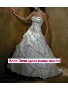 Abito da sposa Taffeta Ricamato Strass e Perline 00150