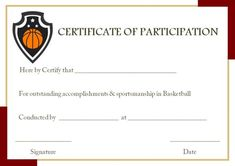 Basketball Participation Certificate Template  Basketball