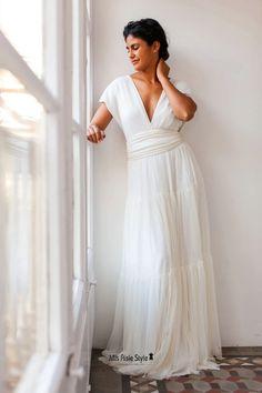 A line Cap Sleeves Boho Wedding Dress – misaislestyle Informal Wedding Dresses, Informal Weddings, Infinity Dress Bridesmaid, Bridesmaid Dresses, Tulle Dress, I Dress, Plus Size Wedding, Ivory Wedding, How To Dye Fabric
