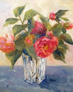 """Daily Paintworks - """"Camellias in a Crystal Vase"""" - Original Fine Art for Sale - © Jean Fitzgerald"""