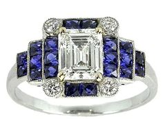 Art Deco Style Platinum Diamond Sapphire Ring