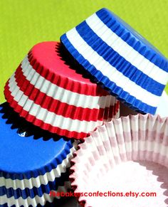 Blue and Red Rugby Stripe Cupcake Liners by thebakersconfections, $3.99