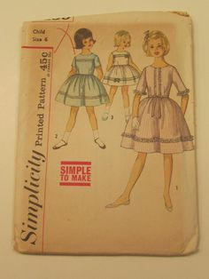 Vintage 1950s Simplicity Sewing Pattern Girls Party/Day Dress Size 6- vintage pattern, girls pattern, sewing pattern on Etsy, $8.00