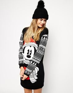 ASOS Sweater Dress in Holidays Mickey Mouse Fairisle Print. Too good!