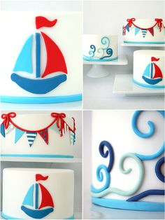 A trio of DIY Nautical Cakes Using Sugar Paste Fondant in red, white and blue