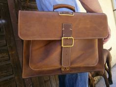 15inch Laptop Genuine Leather Briefcase Overnight by 74streetbags