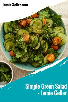A simple salad is always a great thing to have and serve with any meal, this one gets some extra flavor from our favorite Za'atar spice. #vegetarian #pareve #appetizer Large Salad Bowl, Salad Bowls, Simple Green Salad, 5 Ingredient Recipes, Kosher Recipes, Easy Salads, Cherry Tomatoes, Quick Easy Meals, Green Beans
