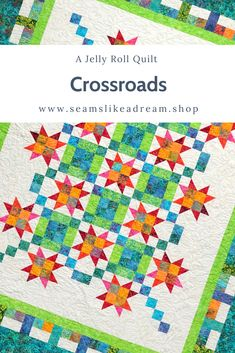 Crossroads is a fun quilt pattern that starts with a jelly roll. Pick a background fabric, a contrast border and then, if you want a bigger quilt, you can add another border! The pieced border adds a great graphic detail. Star quilts are always a favorite and the secondary blocks add an interesting design element. The pattern is available at seamslikeadream.shop for $10. Click to check it out! Quilt Pictures, Star Blocks, Jellyroll Quilts, Star Quilts, Border Design, Quilt Patterns, Cool Designs, Contrast, Quilting