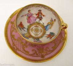 Superb-Antique-Hand-Painted-Dresden-Portrait-Demitasse-Cup-Saucer-Lamm-Signed