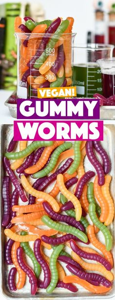 Vegan Gummy Worms Vegan Gummy Worms – Fork and Beans Vegan Finger Foods, Vegan Foods, Vegan Snacks, Vegan Vegetarian, Vegan Party Food, Best Party Food, Vegan Gummy Bears, Vegan Gummies, Vegan Halloween Candy