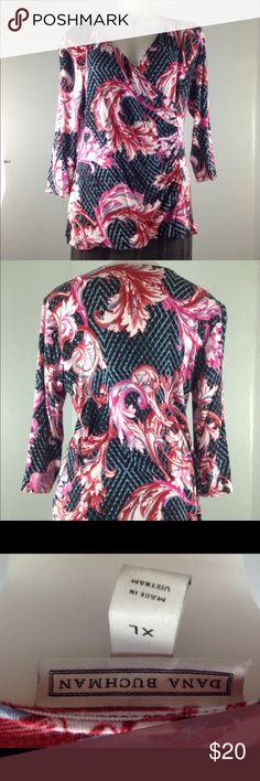 Dana Buckman wrap shirt women's XL floral 3/4 slve Dana Buckman wrap shirt women's size XL  95% rayon 5% spandex  Measurements  Bust 42 inches Waist 36 inches Length 24 inches Dana Buchman Tops Blouses