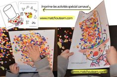 carnaval+les+fiches+à+imprimer. Carnival Activities, Craft Activities For Kids, Kindergarten Activities, Preschool Activities, Theme Carnaval, Circus Crafts, Clown Party, Sensory Art, Party Box