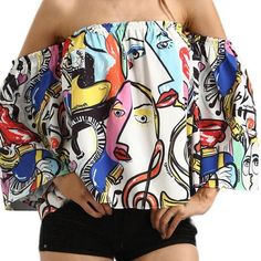 Now available in our store: Comic Style Off S... Check it out here! http://www.bargainsbizarre.com/products/comic-style-off-shoulder-top?utm_campaign=social_autopilot&utm_source=pin&utm_medium=pin