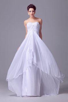 A-line sweetheart sleeveless train chiffon satin wedding dress [MM-DHH0007] - $109.98 : Miimart, where you buy cheap and cheerful