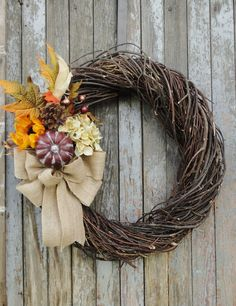Fall Rattan Wreath, Sunflower and Hydrangea Wreath, Fall Sunflower Wreath, Fall Hydrangea Wreath, Autumn Wreath, Thanksgiving Wreath, Wreath by WhimsyChicDesigns on Etsy