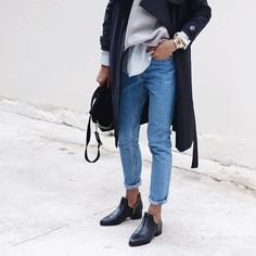 """Super-slouchy jeans by @levis ,rockin shoes by @senso ,soft & smooth trench by @wonhundredhq ❤️✌️"""