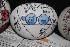 """❤~Piedras  Pintadas~❤ ♥ ⊰❁⊱ Galet """"Love birds"""""""