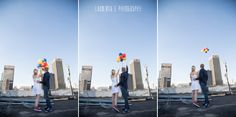 A Johannesburg inner city couple session with colourful balloons captured by Laurentia E photography. Colourful Balloons, Love People, Couple Photography, New York Skyline, Engagement, Couple Photos, Couples, City, Fun
