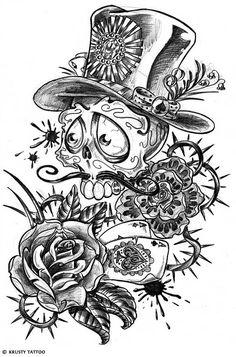 Half Sleeve Cowboy Skull Tattoo Design - Tattoes Idea 2015 / 2016