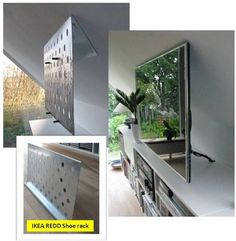 Invisible flat screen TV suspension on SLOPING wall using ikea shoe rack. Awesome!