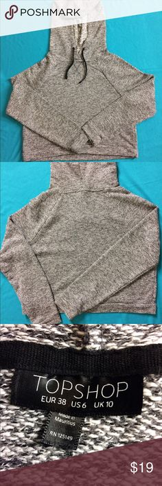 Top Shop Basic Cropped Hoodie Women's Size 6 Basic marked grey French terry knit material Cropped Hoodie in excellent like new condition. Topshop Tops Sweatshirts & Hoodies