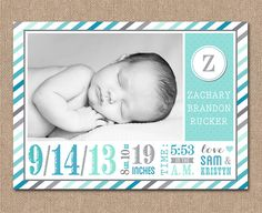 BABY Announcement BIRTH Announcement  Ombre by kimberlyjdesign, $15.00