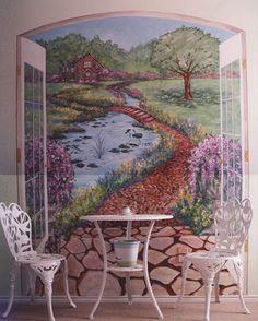 Wonderful Hand Painted Dining Room Garden Murals