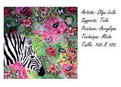 Zebre avec les papillons Artiste Peintre Olga Leila