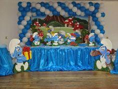Kriart Festas: Tema os Smurfs - Local: Seixal 1st Birthday Party For Girls, Baby Boy Birthday, Birthday Party Themes, Birthday Ideas, Christening Themes, Birthday Room Decorations, Playroom Wallpaper, Wonderland Party, 1st Birthdays