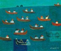 Kim Whan-ki (Korean, 1913–1974), Boating , 1951, oil on canvas, 45.5 x 53 cm. (17.9 x 20.9 in.)