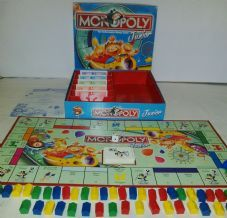 MONOPOLY JUNIOR BOARD GAME - FOR CHILDREN - BY WADDINGTONS - 2001 - THE ROLLERCOASTER MONEY GAME - COMPLETE