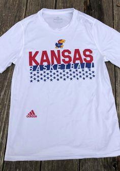 Adidas Kansas Jayhawks White Salute To Service Short Sleeve T Shirt - 14858420 Kansas Jayhawks Football, Kansas Basketball, Basketball Players, College Football, Soccer, Salute To Service, University Of Kansas, College Outfits, Adidas
