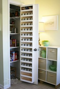 spice rack used 8oz. universal containers,labeled them and stored the spices alphabetically!