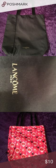 "Lancôme Paris Black Tote Lancôme Paris Black reversible tote.  One side is Black and the other side beats The Eiffel Tower and roses.  Measures approximately 15"" x 15"". Lancome Bags Totes"