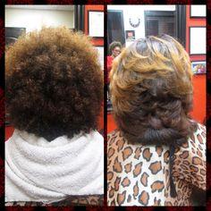 Dominican Blowout On Short Natural Hair Natural Hair Blowout, Blowout Hair, Natural Hair Care, Natural Hair Styles, Long Hair Styles, Natural Curls, Love Hair, Gorgeous Hair, Black Power