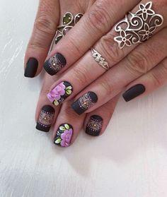 Flower Nails, Manicures, Hair And Nails, Nail Designs, Hair Beauty, Nail Art, Crochet, Ideas, Black Nails