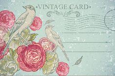 Floral Vector Vintage Card with Bird