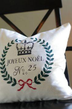 Christmas Pillow Cover Joyeux Noel by larksongcreations on Etsy, $22.00