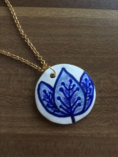 Polymer clay summer necklace with leaf pattern