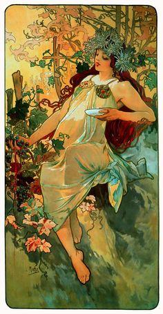 Mabon! Alphonse Mucha - Autumn I love love love Mucha!