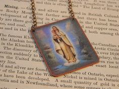 Saint jewelry Our Lady of the Snows necklace mixed media jewelry