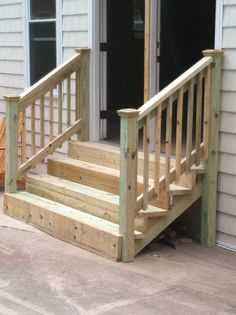 Sunroom Steps Sunroom Steps In 2019 Patio Stairs Front Porch Step Railing, Outdoor Stair Railing, Front Porch Steps, Patio Stairs, Deck Steps, Outdoor Steps, Backyard Patio, Diy Exterior Stairs, Mobile Home Porch